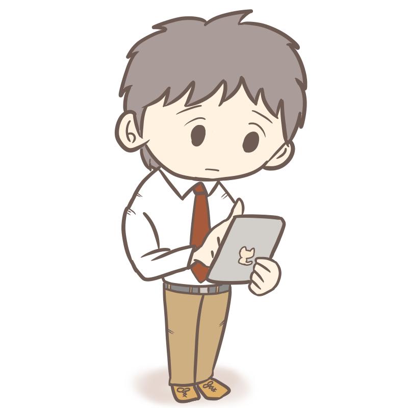 タブレット・スマホを操作するサラリーマン(困り顔)