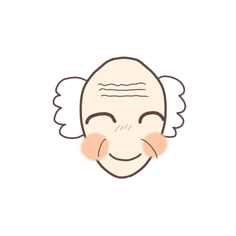 面長のおじいさんの顔