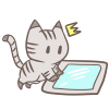 タブレットに悪戯する猫のイラスト