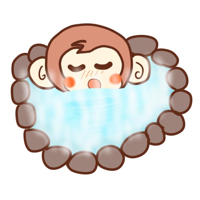 露天風呂を満喫するサル