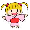 試作版!盆踊りをする幼稚園児(女の子)のフリーイラスト
