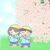 桜並木を通って通園する幼稚園児のイラスト