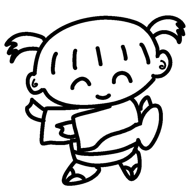 盆踊りを踊る女の子1(線画)