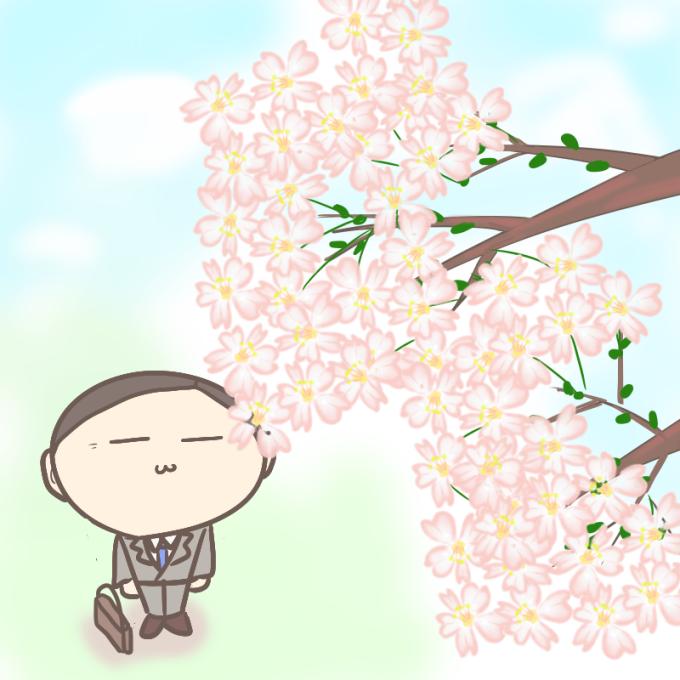 桜を見上げる人の良さそうなサラリーマン