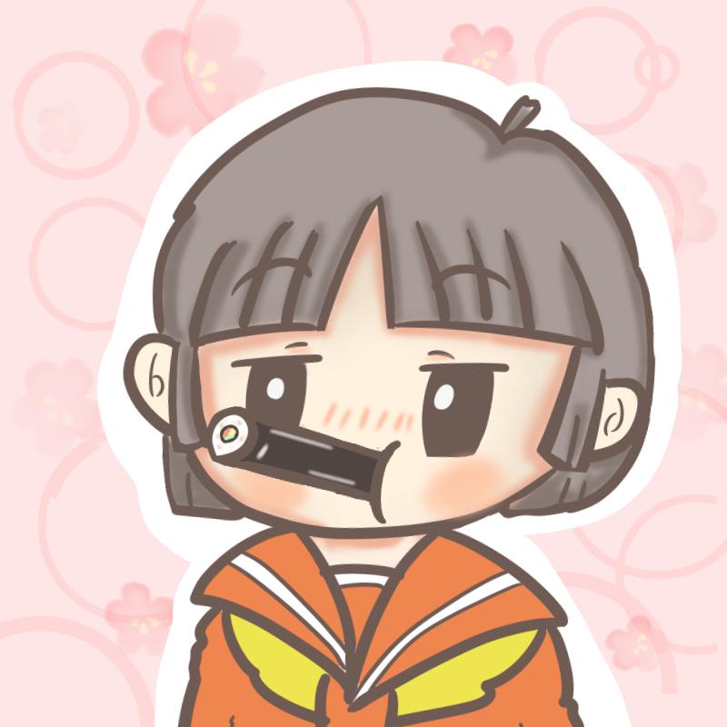 恵方巻を食べる女学生