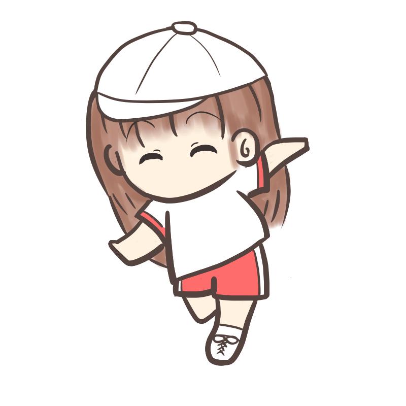 運動会 かけっこ 女の子 白帽子
