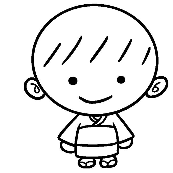 盆踊りちびっこバージョン試作品(男の子 線画)