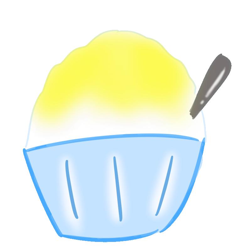 懐かしいかき氷の無料イラスト(レモン)