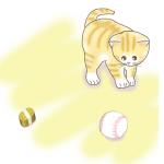 子猫と小判!「猫に小判」からイメージしたイラスト