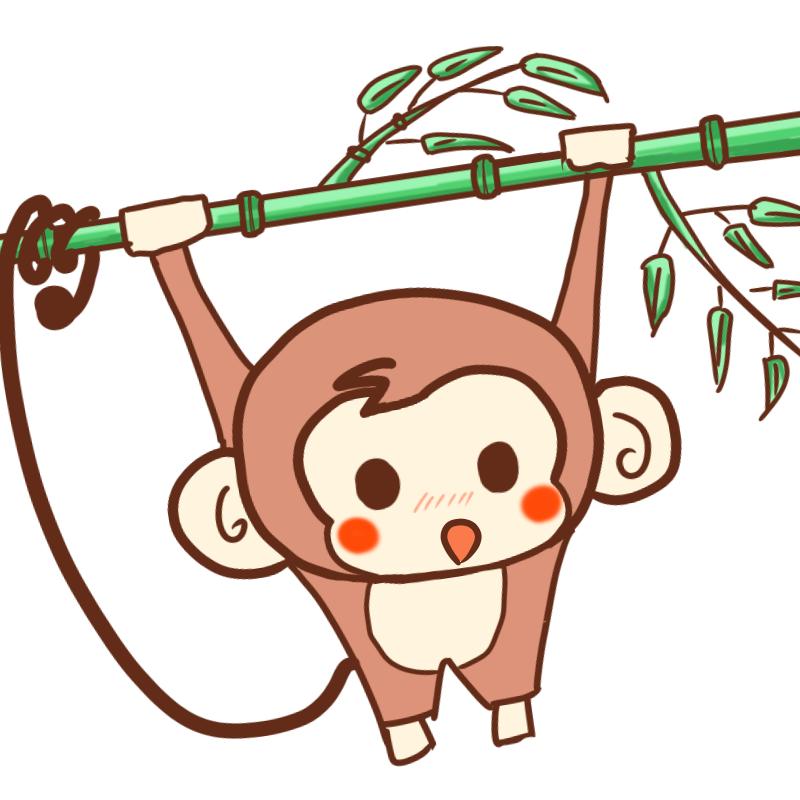 竹にぶら下がる可愛いサル