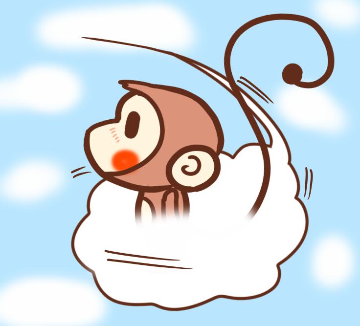 雲に乗って空を飛ぶサル反転