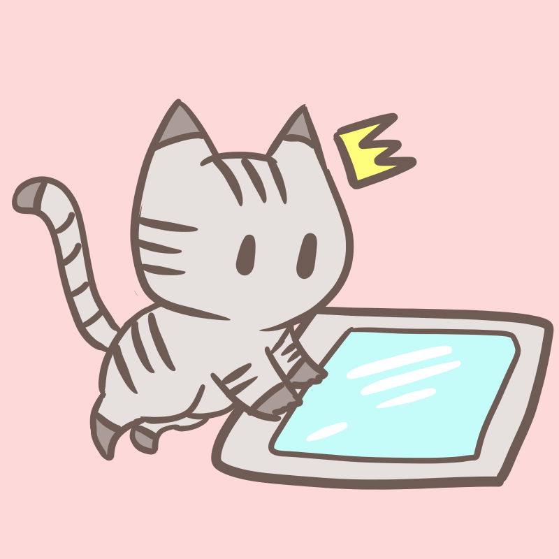 タブレットを使う猫
