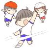 徒競走でゴールする男の子のイラスト