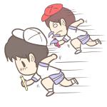 運動会でリレーを走る男の子の無料イラスト
