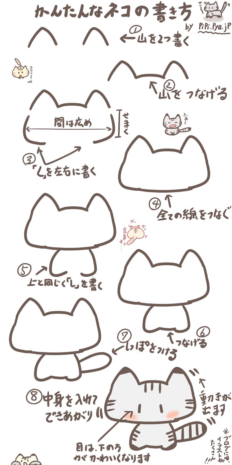 小学生にもオススメ!ボールペンで超簡単なネコのイラストの描き方 | ぴぴ