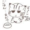 ご飯まだぁ~?ごはんを催促する猫の無料イラスト