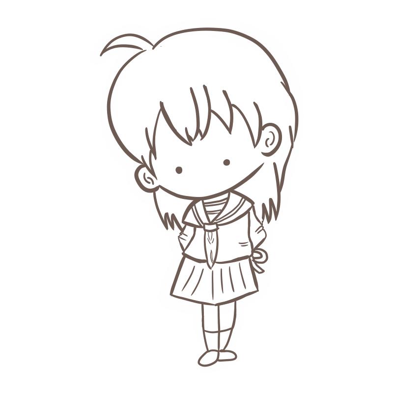 はにかみながらバレンタインチョコを渡す女の子のフリーイラスト(線画)