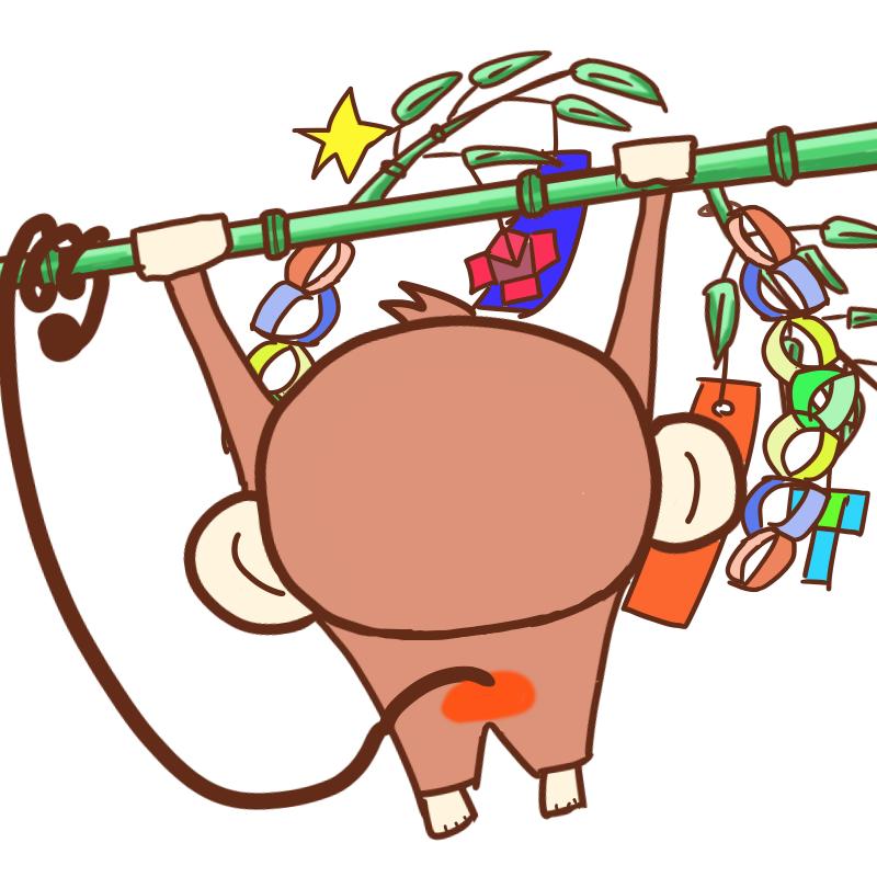 竹にぶら下がる可愛いサル(昼バージョン後ろ向き)