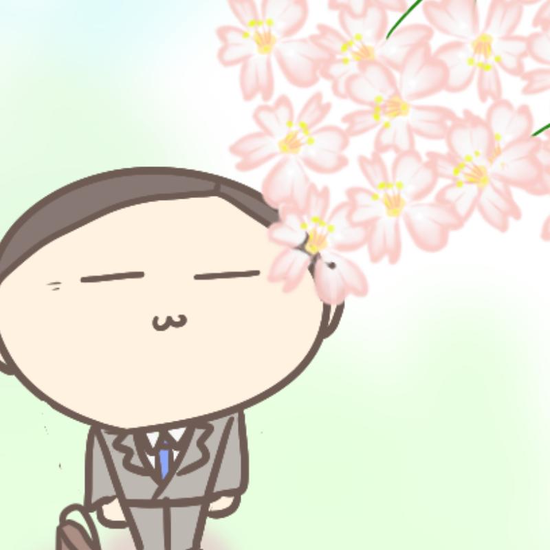 桜を見上げるサラリーマン