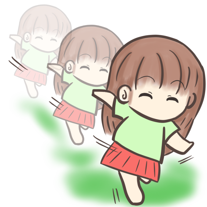 裸足で走る女の子