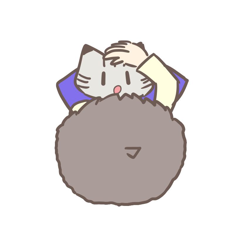 甘える猫のイラスト(文字無し)