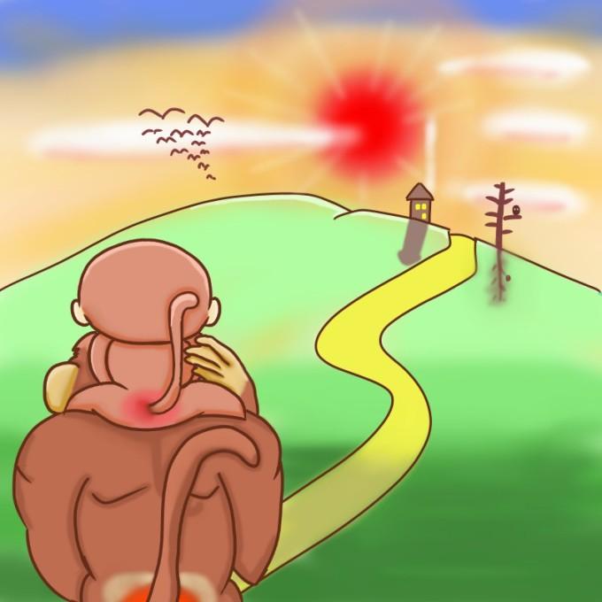 お家へ帰ろう!サルの親子のイラスト