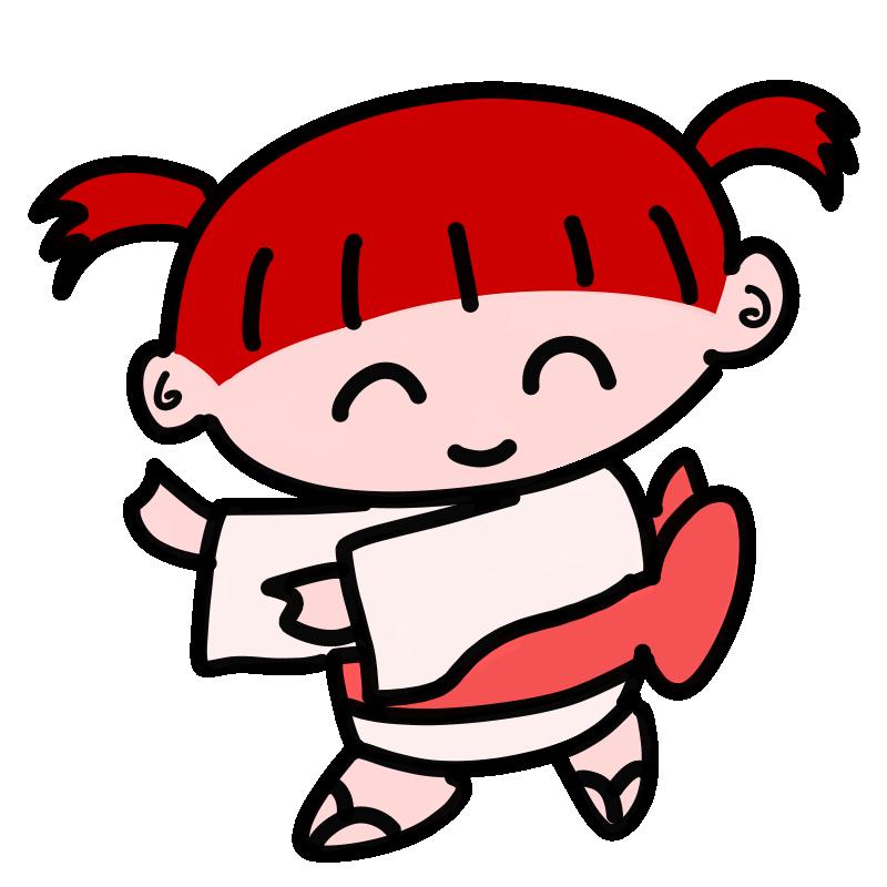 盆踊りを踊る女の子1(カラー)